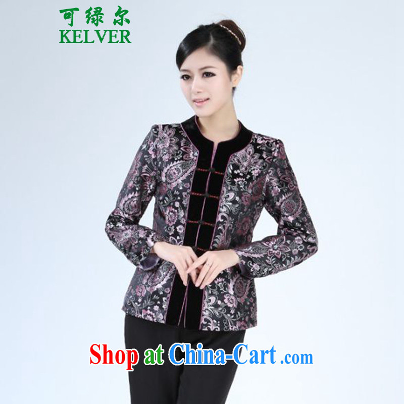 To Green, spring fashion new products, older mothers with round-neck collar stitching embroidery Tang jackets - 2 3 XL