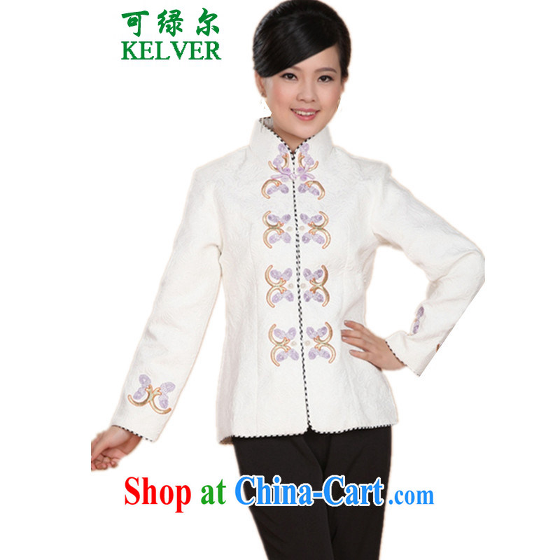To Green, autumn and winter fashion new and old mother with a collar double-flap embroidered Tang jackets - 2 3 XL