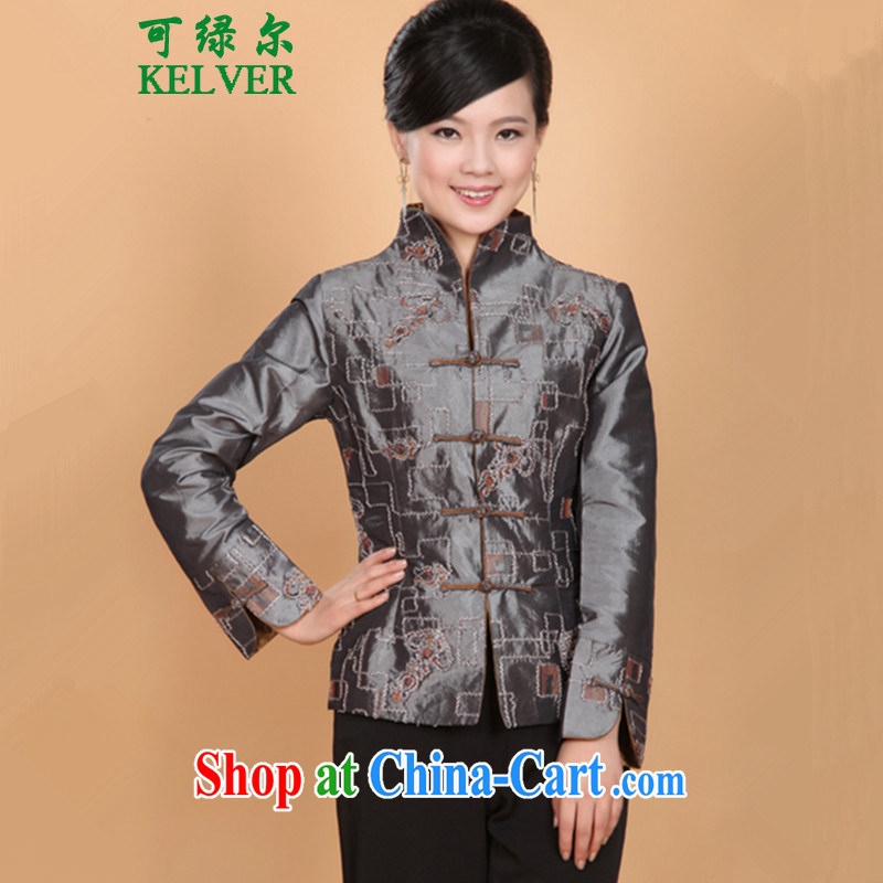 To Green, the older female spring stylish new t-shirt MOM load the collar embroidered single buckle Tang jackets - 2 XL