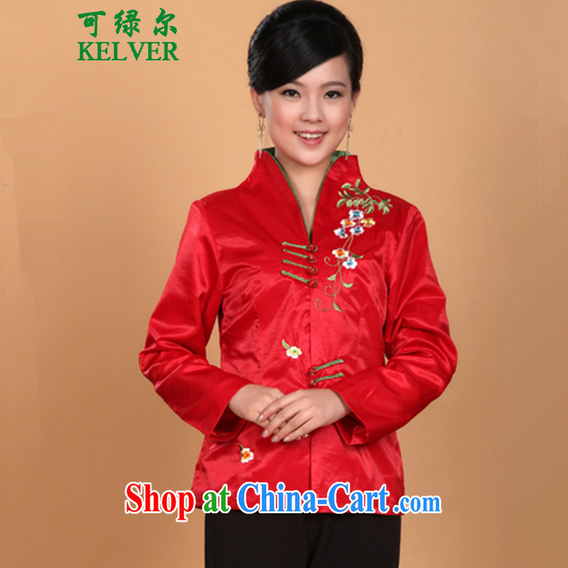 To Green, older women spring fashion new t-shirt MOM load the collar embroidered 6 piece snap-tang jackets - 1 L