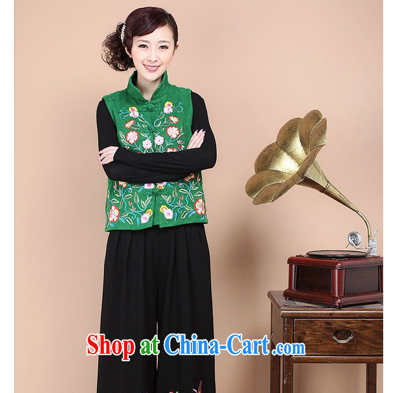 Forest narcissus fall 2014 new cotton jacquard, for antique Chinese Embroidery cheongsam a FGR - A 086 green XXL