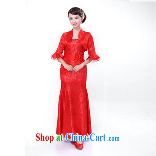 Evening Dress new 2014 improved cheongsam sexy straps elegant long wedding dresses party red XS