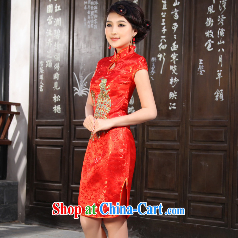 2012 new improved bridal dresses Stylish retro summer short wedding dresses QP 906 red XS