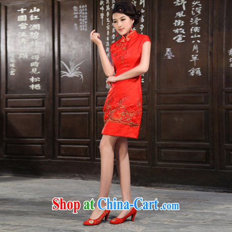 2012 new improved bridal dresses Stylish retro summer short wedding dresses QP 905 red XS