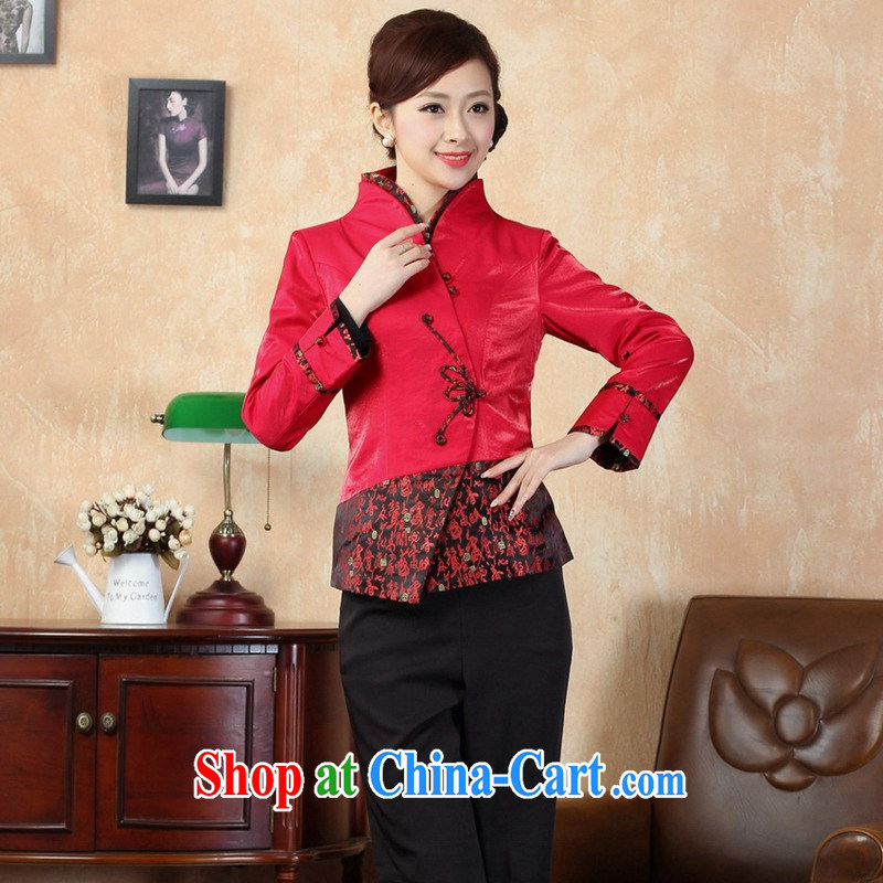 The Balaam poetry autumn 2014 new female ethnic wind carved out a T-shirt, long-sleeved collar Tang replace J 0070 red 42