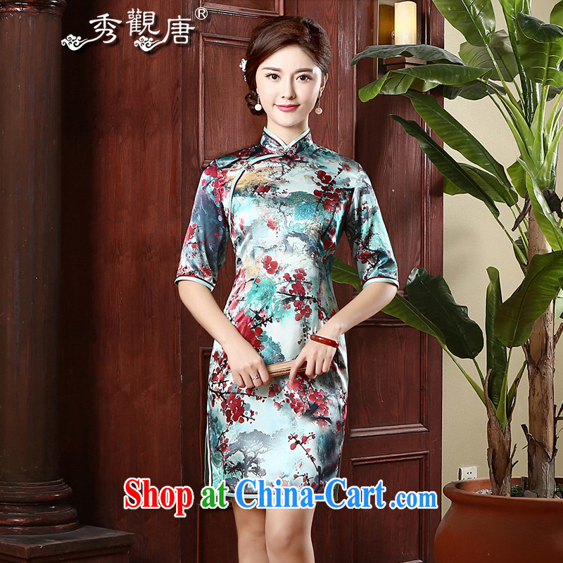 The CYD HO Kwun Tong' Phillips, Silk Cheongsam retro autumn 2015 new sauna beauty Silk Cheongsam QZ 4743 fancy XXXL