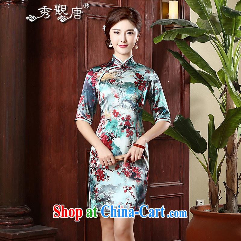 The CYD HO Kwun Tong' Phillips, Silk Cheongsam retro autumn 2015 new sauna beauty Silk Cheongsam QZ 4743 fancy XXXL