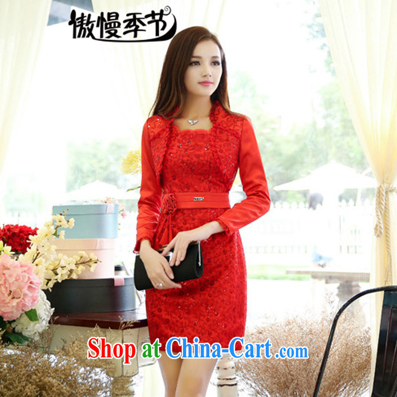 Arrogant season 2015 spring New Name-yuan Hong Kong Small wind long-sleeved video thin XL wedding dress dresses picture color XXXL