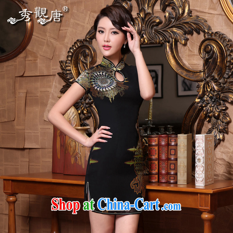 Fate compass 2015 new qualities and summer dresses fashion style beauty snow woven ultra-thin Chinese Antique cheongsam dress black XXXL