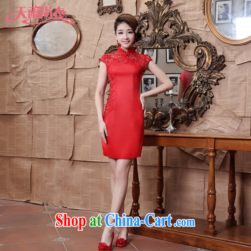 Rain is still Yi 2015 New Red wedding dresses bridal short bows stage dress QP 538 red tailored