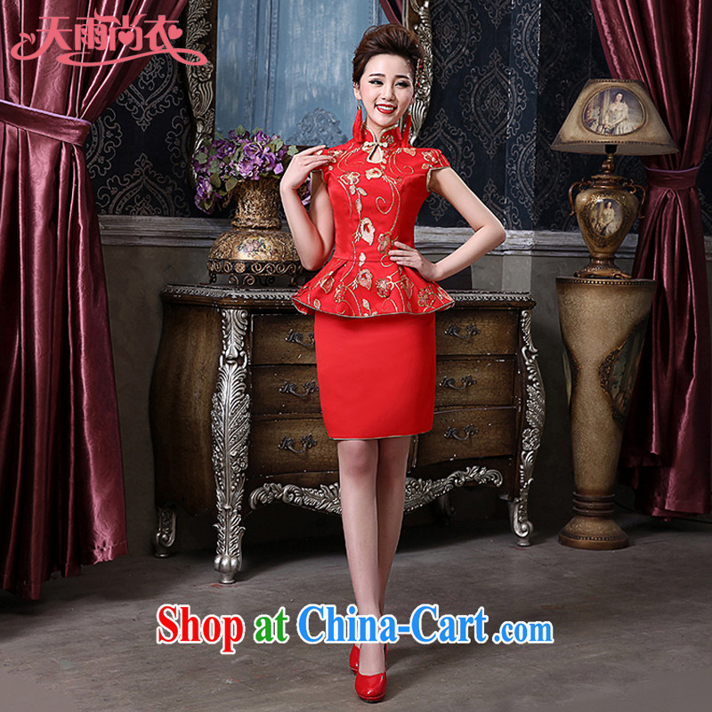 Rain is still clothing bridal wedding dresses 2015 new toast serving the wedding package elegant sense of improved back door skirts dresses QP 561 red tailored