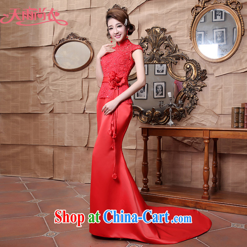 Rain is still clothing wedding dresses 2015 new stylish improved marriage toast clothing red bridal lace-tail dresses QP 547 red tailored