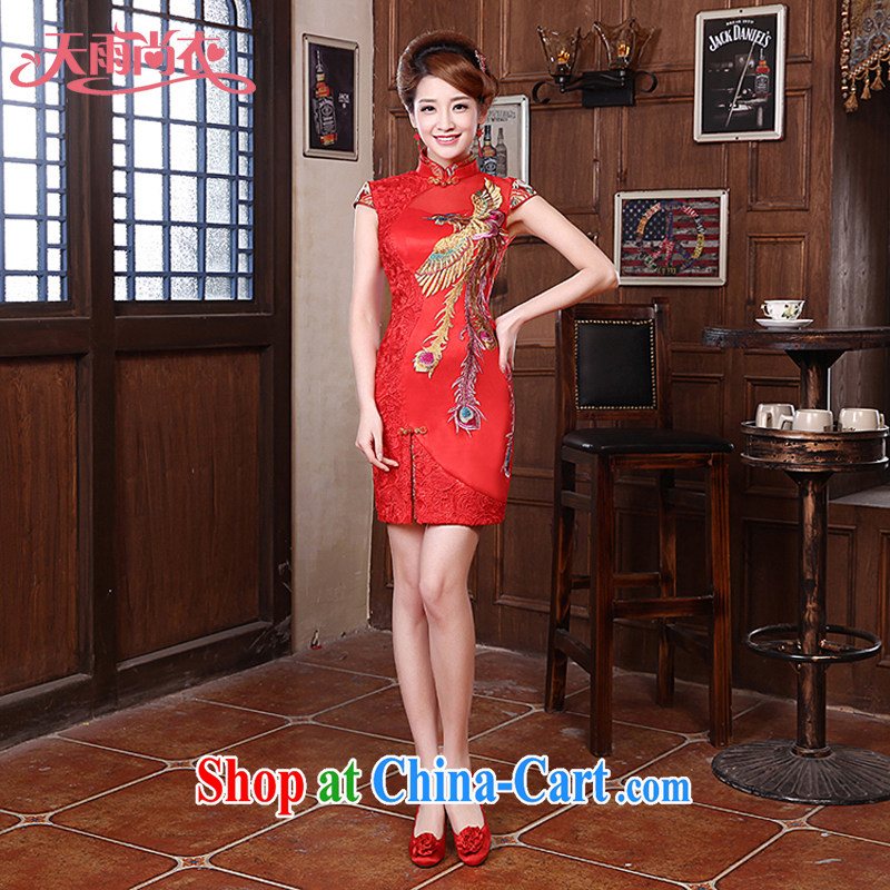 Rain is still clothing bridal 2015 new marriage toast clothing sexy lace Phoenix short skirt small dress improved cheongsam QP 563 red tailored