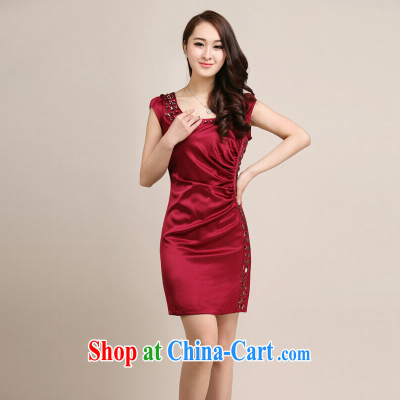 Fresh air summer 2014 women new sauna silk silk damask European Big solid color manually staple pearl cultivation summer stylish improved short cheongsam dress wine red L