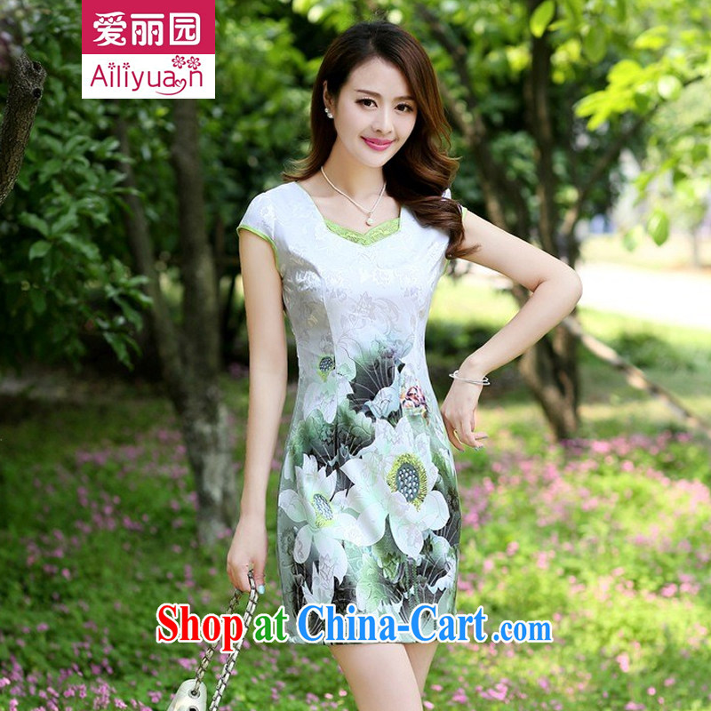 Alice Park 2015 summer new women's clothing dresses improved stylish elegant dress short, Retro daily cotton cheongsam dress 96 girls Green Green XXL