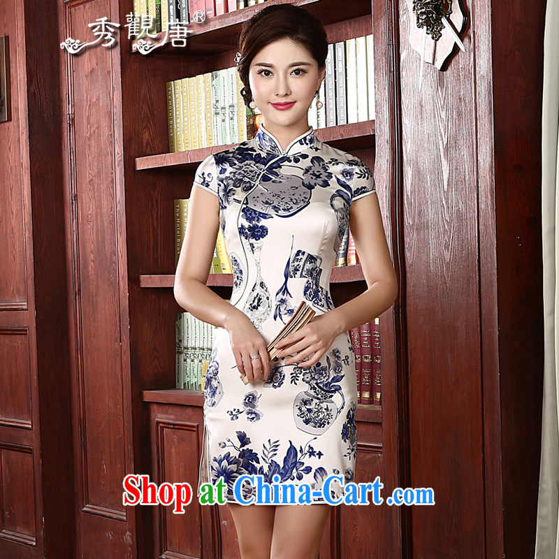 The CYD HO Kwun Tong' blue vases Silk Cheongsam dress 2015 spring and summer new retro blue sauna Silk Cheongsam stylish atmosphere with her mother QD 411 short-sleeved XXL