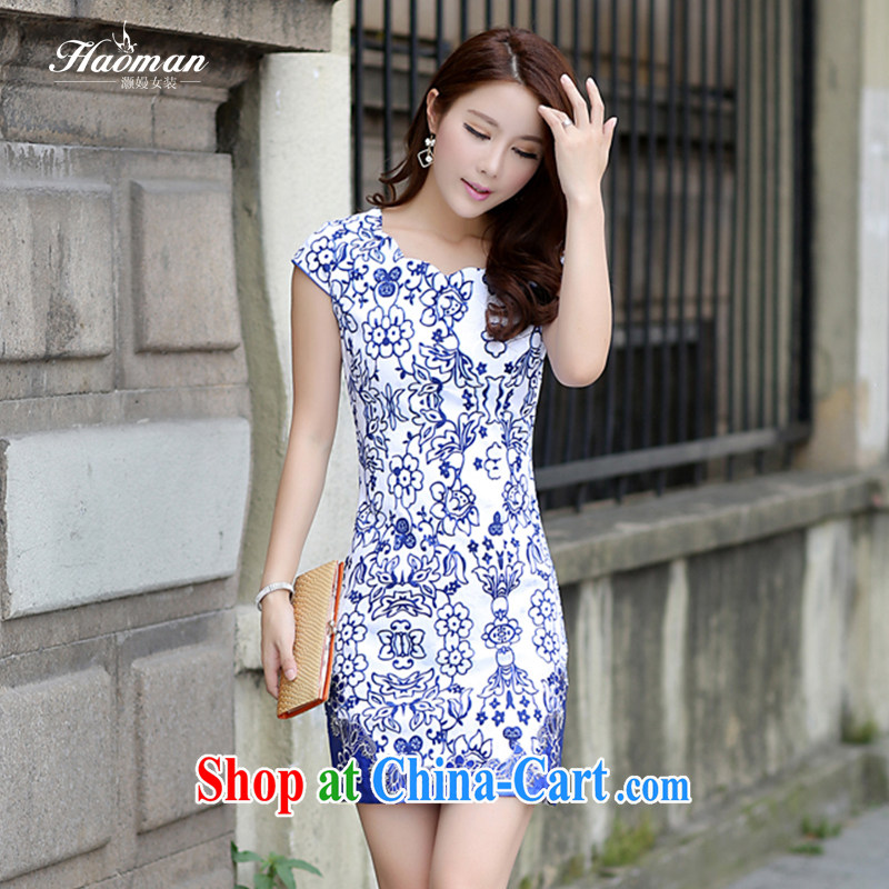Golden Harvest, summer 2015 new Chinese Dress skirt Korean bridal toast clothing beauty graphics thin larger Chinese cheongsam dress with dress cheongsam dress FW porcelain was the L