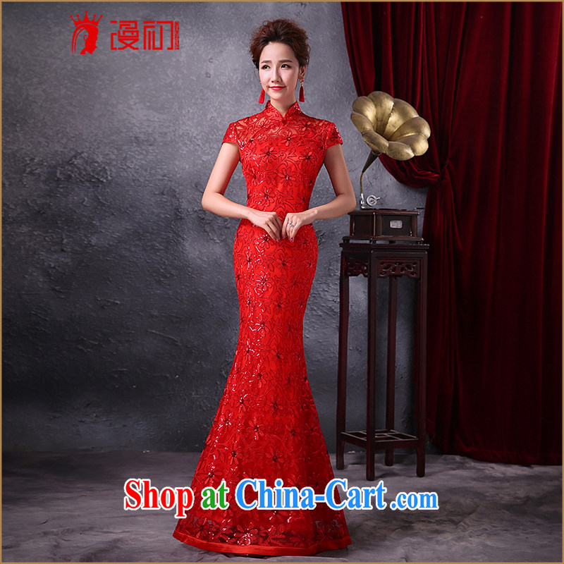 Diffuse early winter 2015 new marriage toast serving long bridal dresses crowsfoot elegant beauty Evening Dress red L