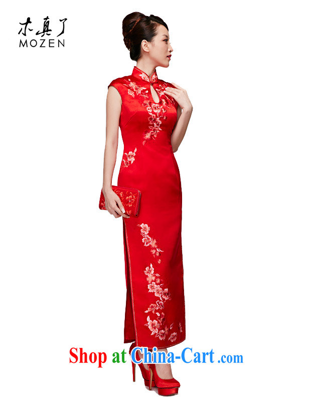 Wood is really the 2015 spring and summer new Chinese wedding dress hand-embroidery silk bridal long cheongsam 22,016 05 red M