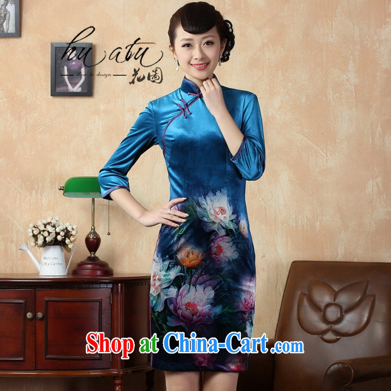Spend the autumn and the new female dresses with short stretch gold velour painting stylish classic in short sleeves cheongsam 8 color 2 XL