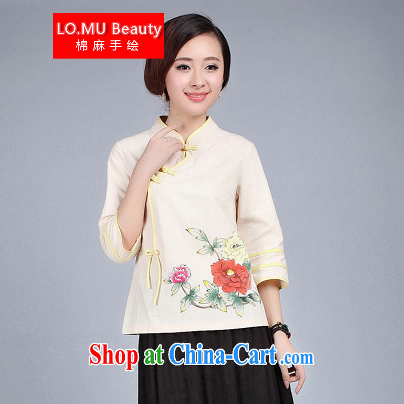 LO . MU Beauty fall 2014 cotton, the hand-painted 7 cuff short cheongsam blouses Chinese Antique Chinese China wind Peony L _the Code_