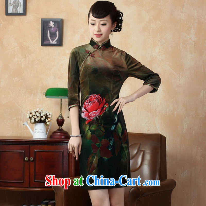 Take the female cheongsam Chinese autumn spring loaded gold velour elegant poster stylish classic in short sleeves cheongsam picture color 2 XL