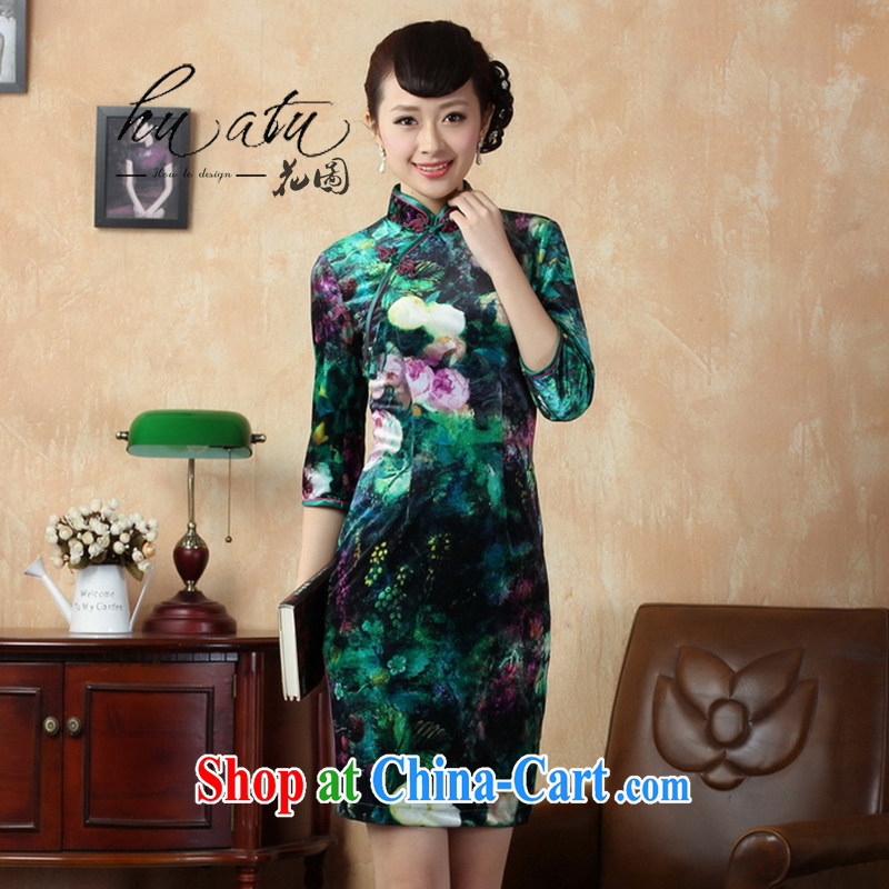 Spend the autumn and the cheongsam Tang Women's clothes, collar stretch the wool painting stylish classic in short sleeves cheongsam picture color 2 XL
