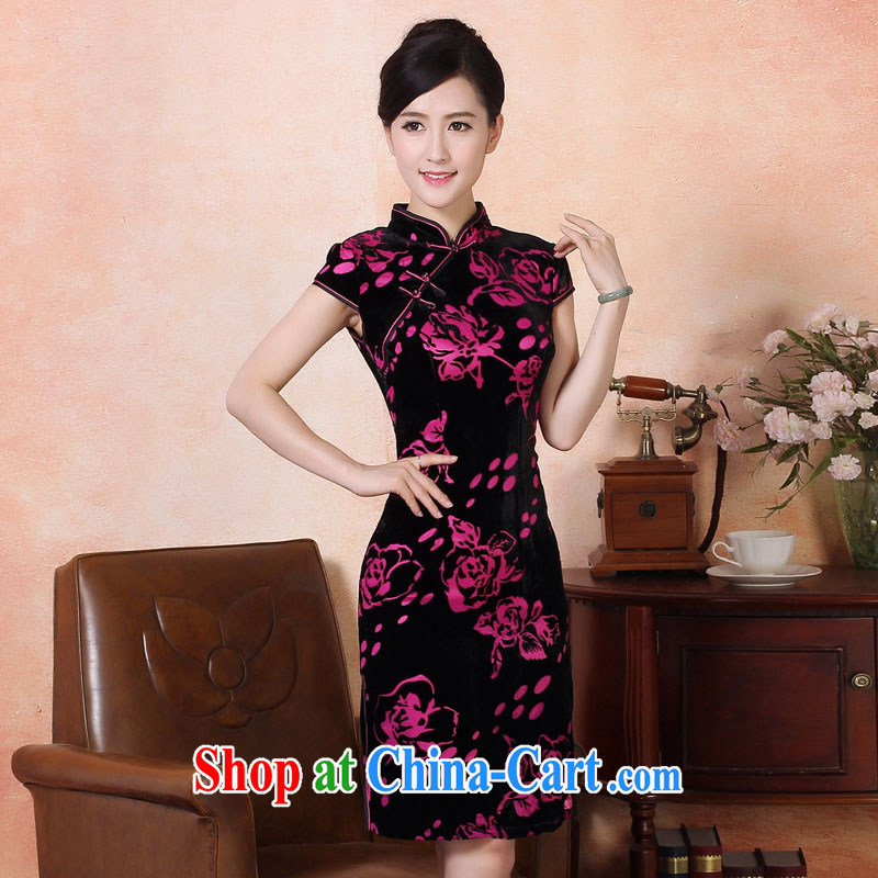 Autumn 2014 the new wool Silk Cheongsam dress short, elegant embroidery cheongsam high price package of the Red XXL