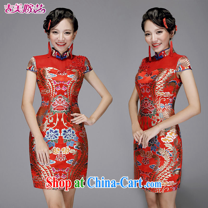 wedding dresses Jimmy married arts 2014 New red Chinese package shoulder cultivating short Q 7578 bridal dresses red XL