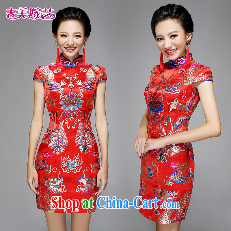 wedding dresses Jimmy married arts 2015 New red Chinese package shoulder cultivating short Q 7579 bridal dresses red XL