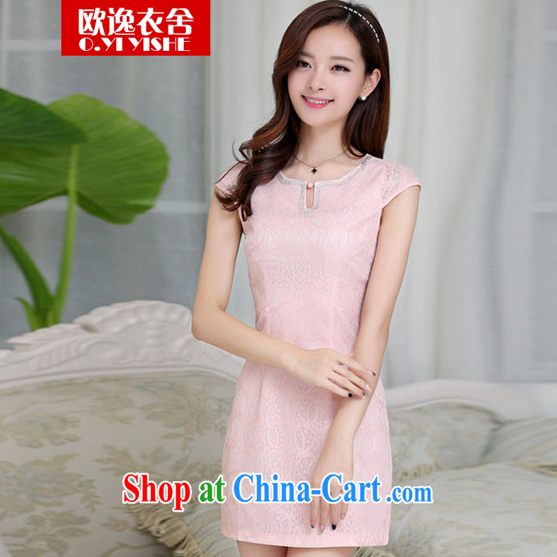 once and for all the clothing and buildings fall 2014 new beauty, Video thin improved cheongsam short-sleeved dresses 310,098 pink XXL