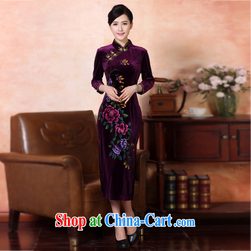 Counters are, Autumn 2014 the new retro hand-painted long cheongsam dress banquet service performance service improvement and stylish beauty China wind dresses package mail 334,226 purple L