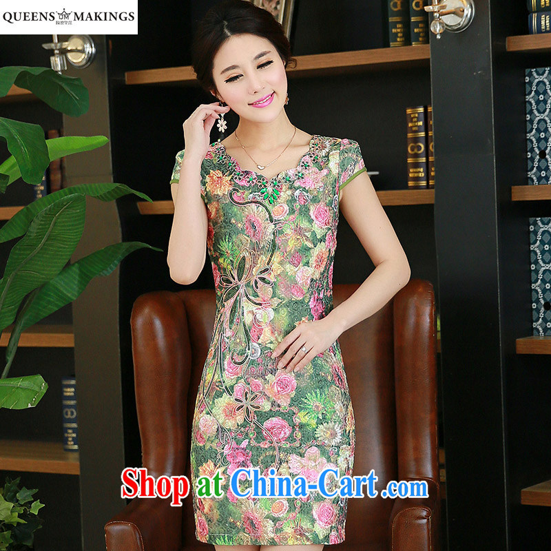 2015 summer dresses girls retro improved petal collar inserts drill short embroidery cheongsam dress QM 14 085 fancy XXXL