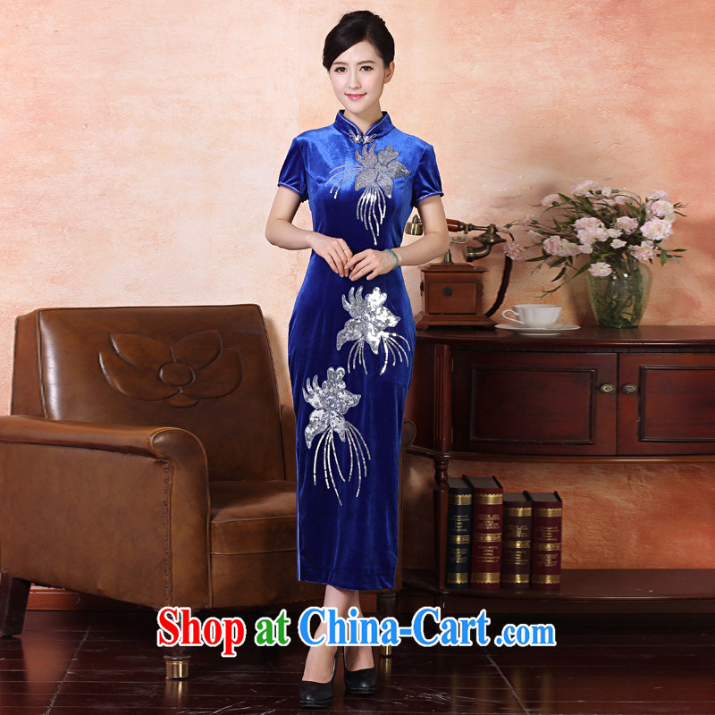 East noble counters are, Autumn 2014 the new butterfly embroidery elegant improved day-long cheongsam dress embroidery short-sleeved one-piece package mail silk elegant stylish banquet 334,215 Lake blue XXXL