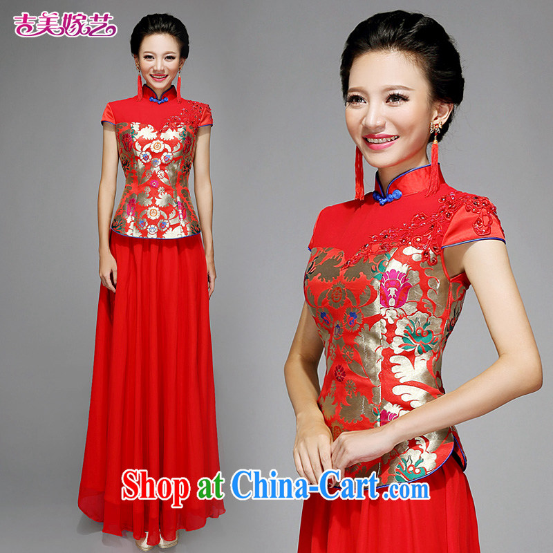 wedding dresses Jimmy married arts 2015 new Chinese package shoulder cultivating long QP 7581 bridal improved cheongsam red XL