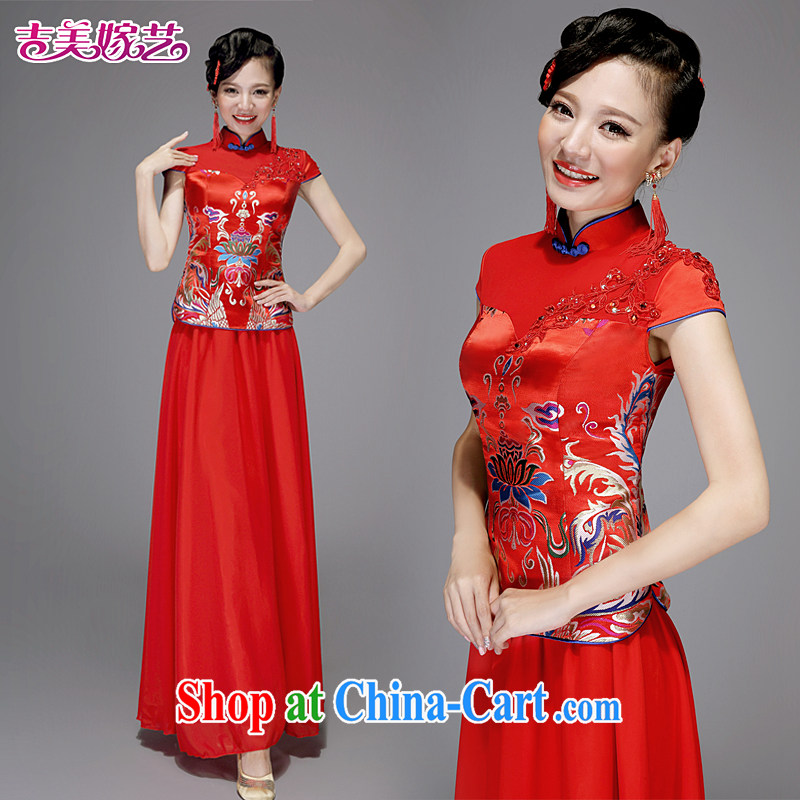 Dresses wedding dresses Jimmy married arts 2015 new bag shoulder Chinese long QP 7582 China wind bridal dresses red XL
