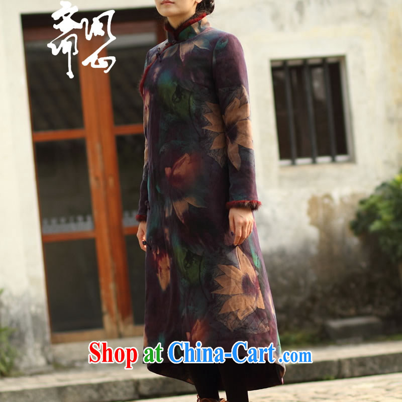 q heart Id al-Fitr autumn new relaxed atmosphere streaking long-sleeved thick Silk Cheongsam WXZ quilted coat 1331 first-hand custom,