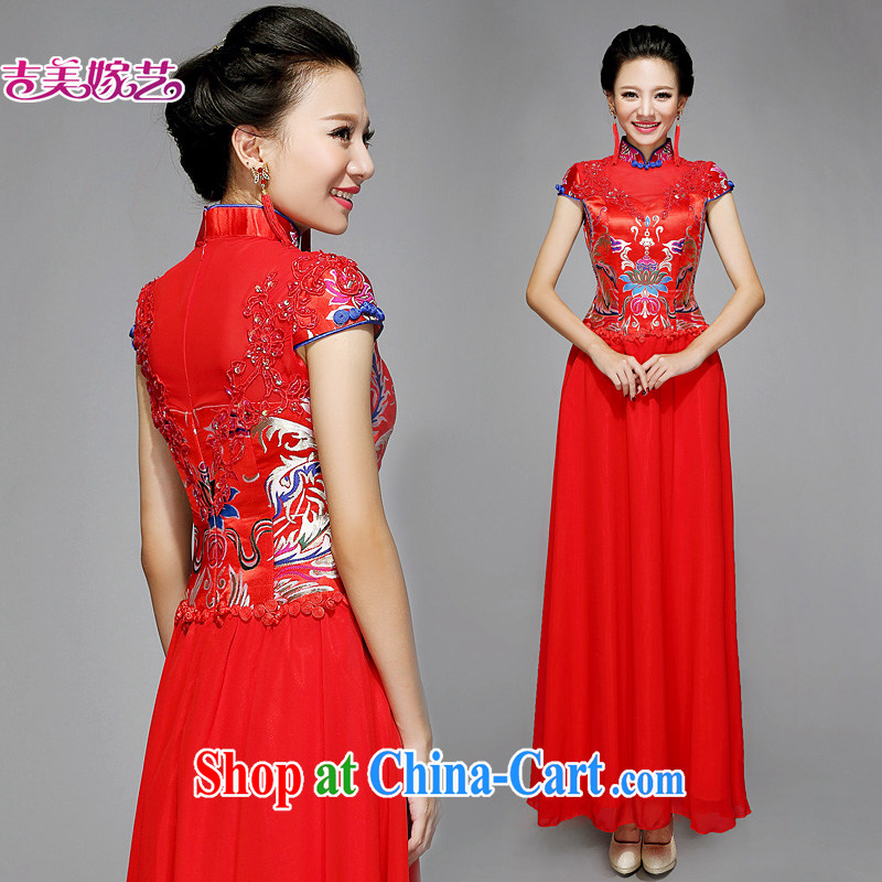 wedding dresses Jimmy married arts 2015 new bag shoulder Chinese qipao improved cultivation long QP 7577 bridal flag red XL