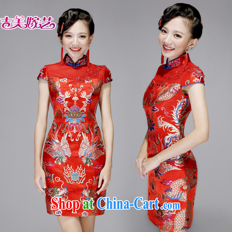 wedding dresses Jimmy married arts 2015 New red Chinese package shoulder cultivating short Q 7572 bridal dresses red XL