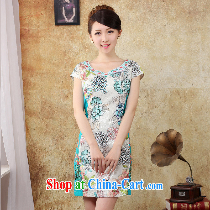 2014 counters and embroidery cotton the cheongsam short, no fork chopper cultivating flower dresses package mail 424,184 564,128 green XXL