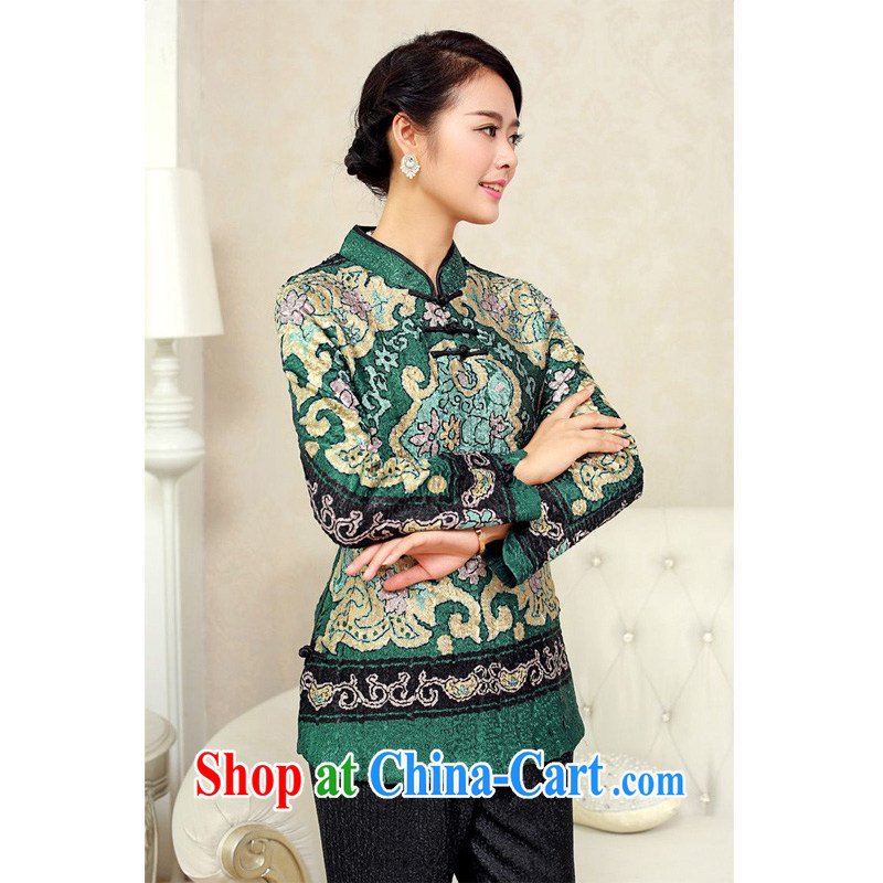 Forest narcissus fall 2015 the new, older style special wrinkled silk Long-Sleeve loose ground on 100 tablets 3 snap Tang replace XYY - 8317 dark XXXXL