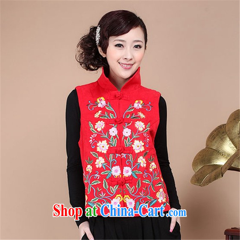 HYMN Sodom and chart spring 2015 new, old mother with Chinese embroidery t-shirt Ethnic Wind retro-tie a large number the commission cotton jacquard vest red XXL