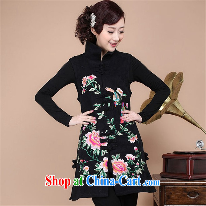 HYMN Sodom and Pratt 2015 spring new t-shirt Ethnic Wind Chinese Embroidery is withholding a thick mother larger retro embroidered Chinese T-shirt, long Ma Clip Black XXXL