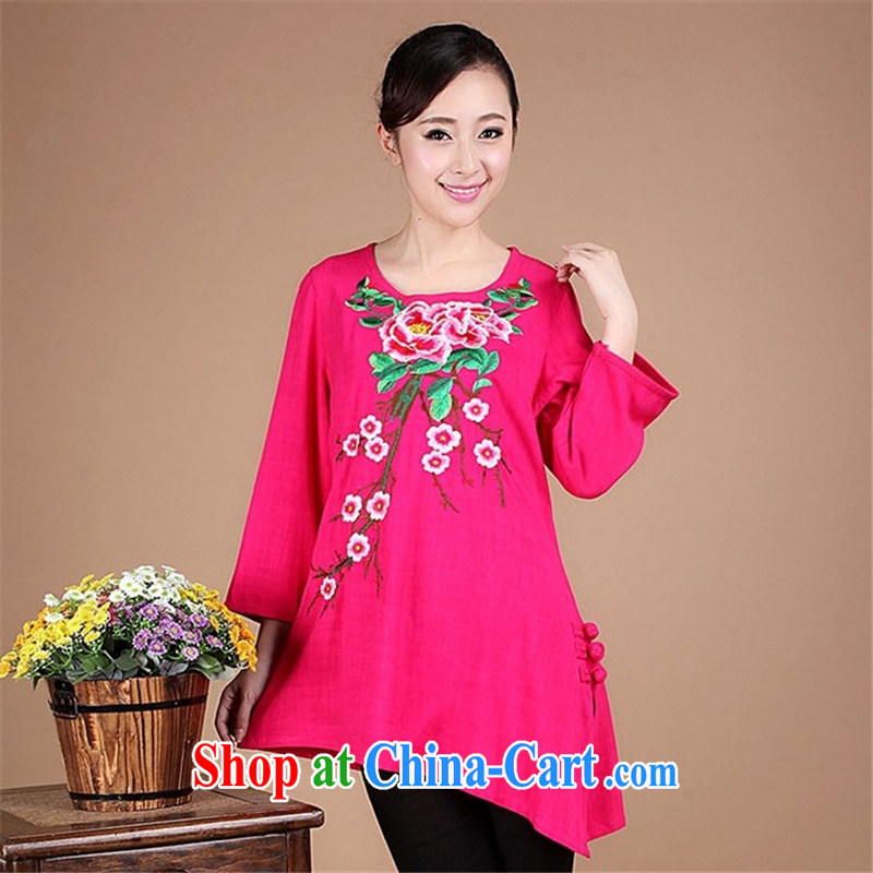 HYMN Sodom chart 2015 spring new larger female ethnic wind Tang with retro skirt swing long-sleeved T-shirt Phillips-rich embroidered round-collar long-sleeved shirt T the red XXXL