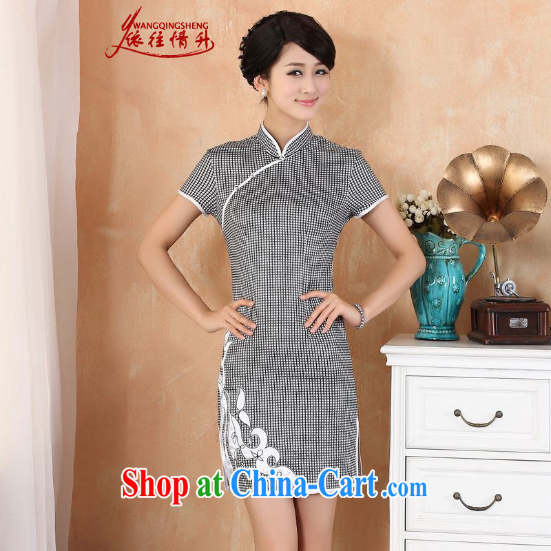 According to the conditions in summer and stylish new products, for a tight plaid print beauty cheongsam dress - 1 black L
