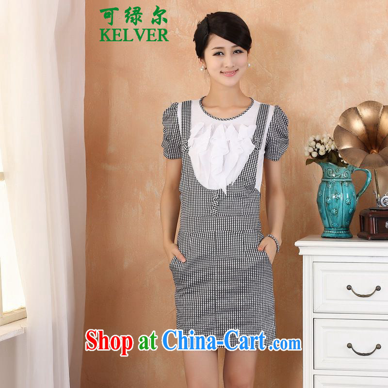 To Green, summer and stylish new products round-collar plaid stitching bubble cuff Sau San cheongsam dress - 1 M