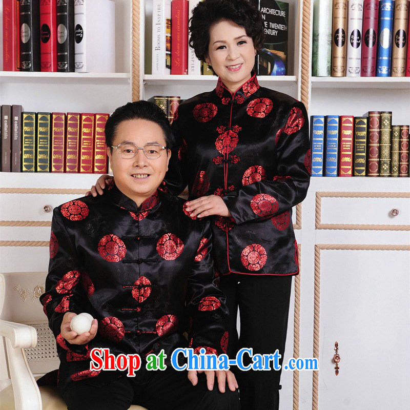 The Balaam poem Spring and Autumn and Mom and Dad's birthday New Year festive costumes for couples put life wedding performance standard for brocade coverlets flap black and red female 3 XL