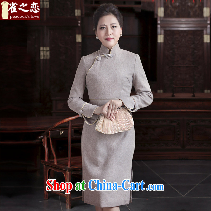 Birds of love Hong Kong Street dust 2015 spring new cheongsam dress improved modern day short, so gross cheongsam QC 548 light gray XXXL