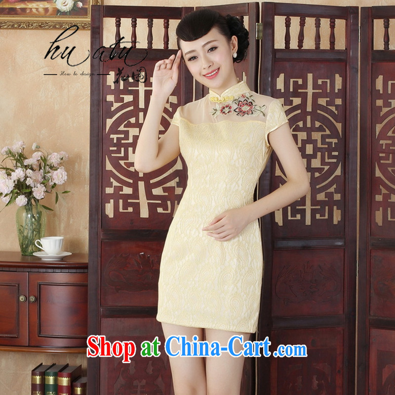 Take the Lady Jane, stylish and refined beauty lace short cheongsam dress female new Chinese qipao gown 4 yellow 2 XL