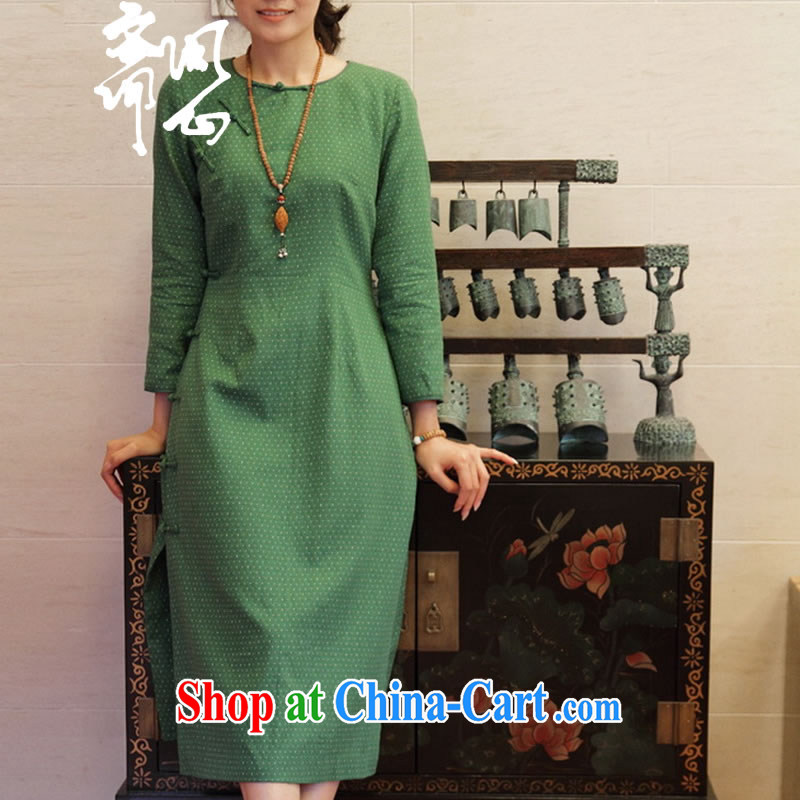 q heart Id al-Fitr _Yue and autumn as soon as possible new tray for cultivating the Point cotton long cheongsam dress WXZ 1295 emerald green manual custom 15 days the manual customization,